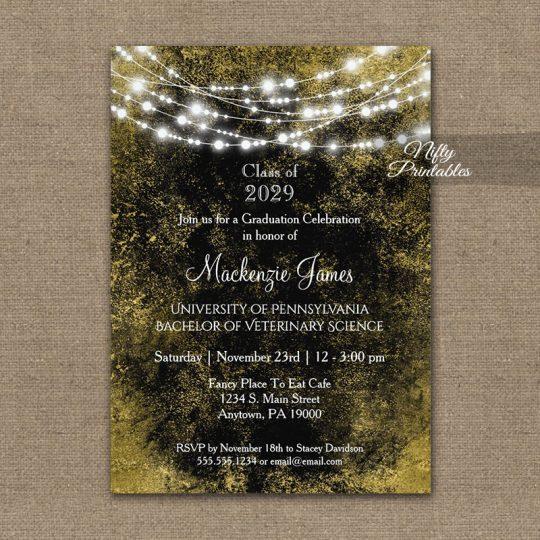 Graduation Invitations Black Gold Lights PRINTED
