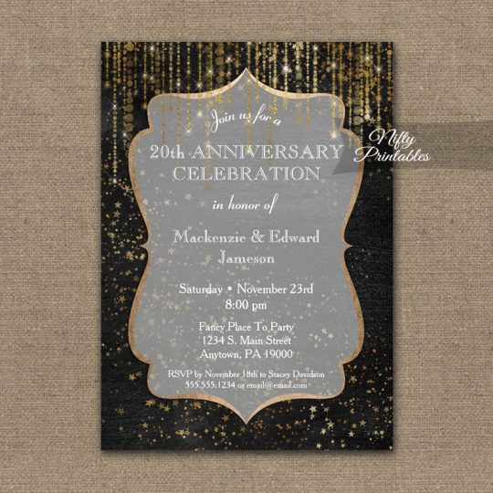 Anniversary Invitations Black Gold Elegance PRINTED