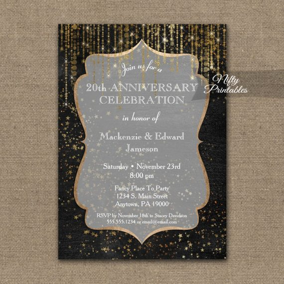Anniversary Invitation Black Gold Elegance PRINTED