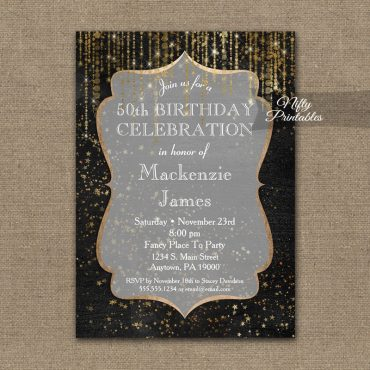 Birthday Invitation Black Gold Elegance PRINTED