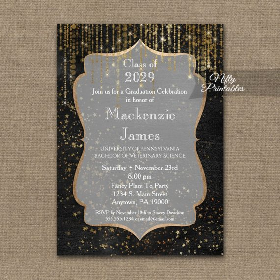 Graduation Invitation Black Gold Elegance PRINTED