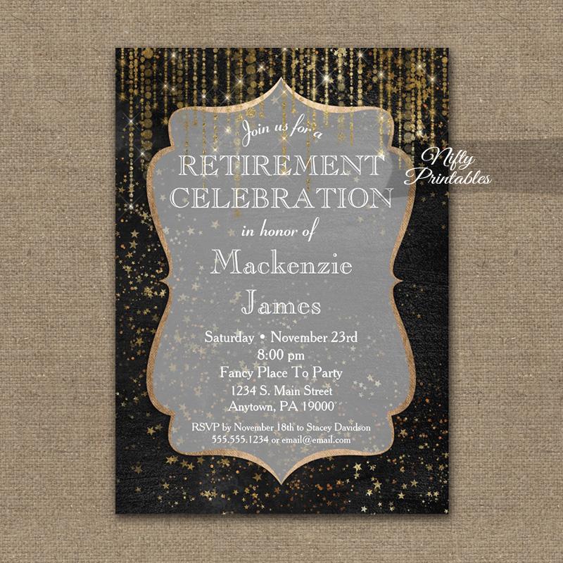 Retirement Invitation Black Gold Elegance PRINTED