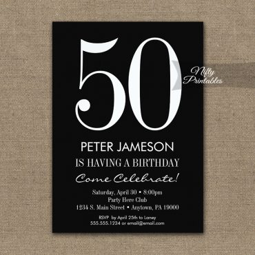 Birthday Invitation Black & White Modern PRINTED