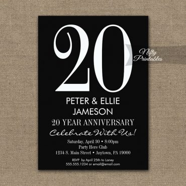 Anniversary Invitations Black & White Modern PRINTED