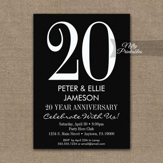 Anniversary Invitation Black & White Modern PRINTED