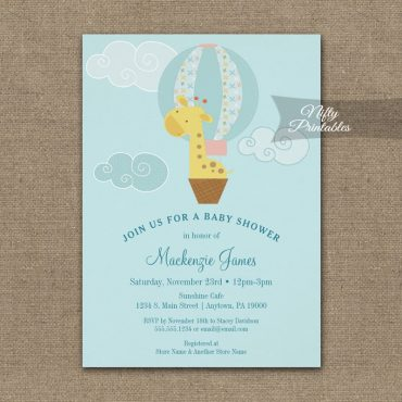 Baby Shower Invitations Giraffe Hot Air Balloon PRINTED
