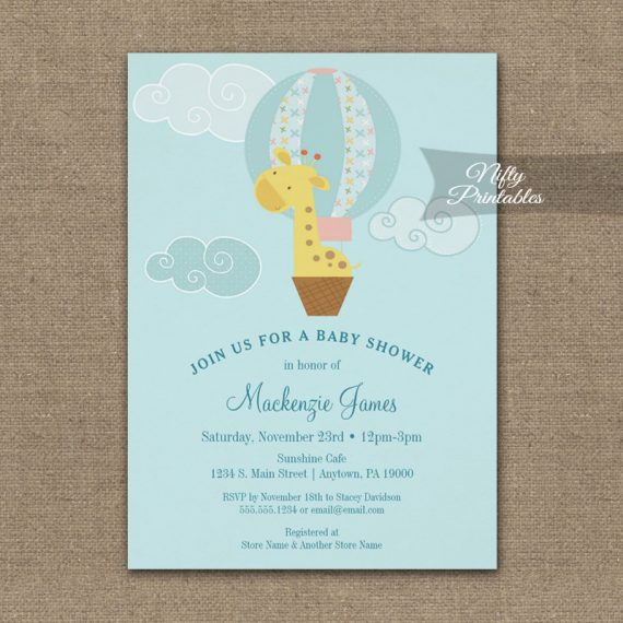 Baby Shower Invitation Giraffe Hot Air Balloon PRINTED
