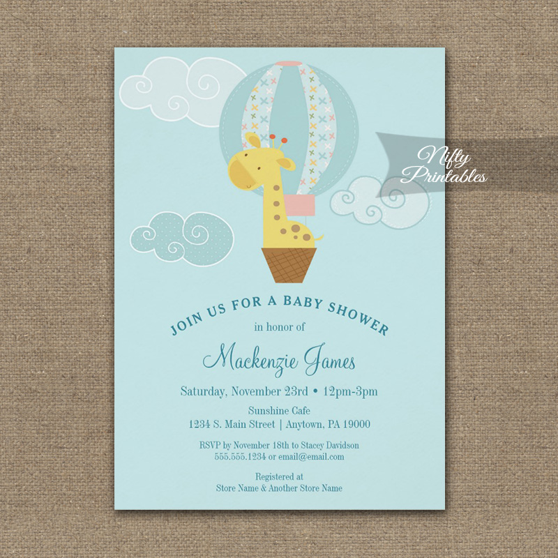 Baby shower invitation giraffe hot air balloon printed nifty baby shower invitation giraffe hot air balloon printed filmwisefo