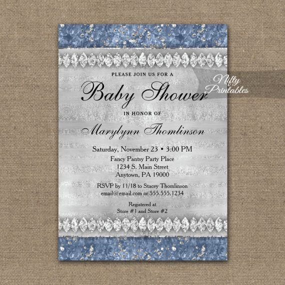 Baby Shower Invitation Blue Diamonds PRINTED