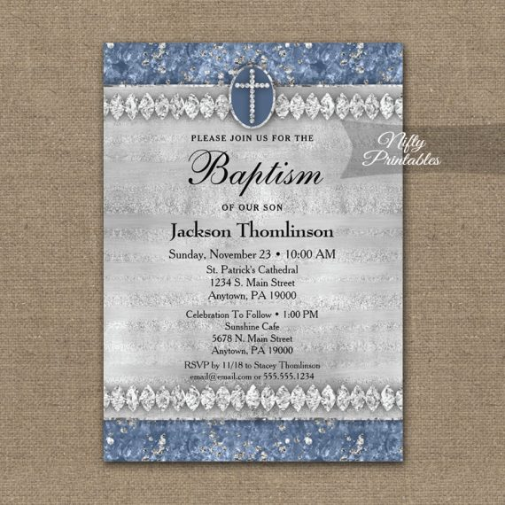 Baptism Invitation Blue Diamonds PRINTED