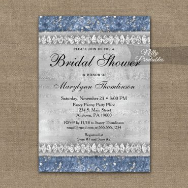 Bridal Shower Invitation Blue Diamonds PRINTED