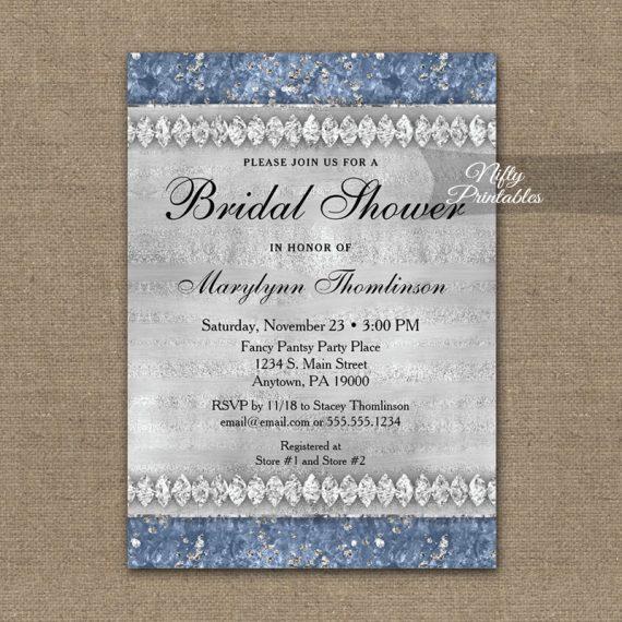 Bridal Shower Invitation Blue Diamonds PRINTED