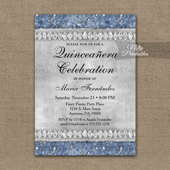Quinceañera Invitation Blue Diamonds PRINTED