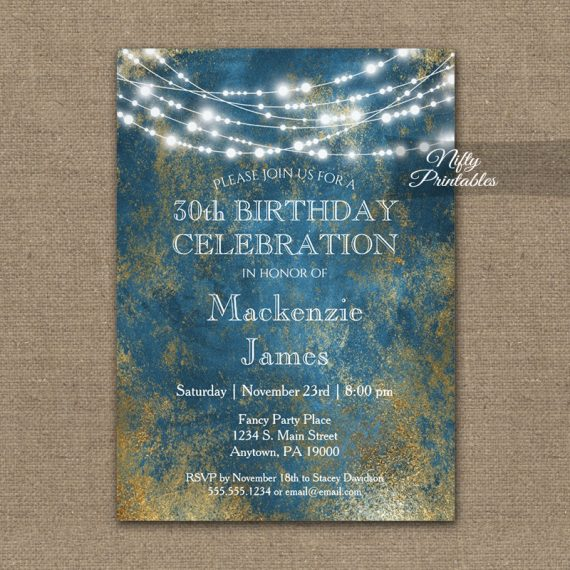 Birthday Invitation Blue Gold String Lights PRINTED