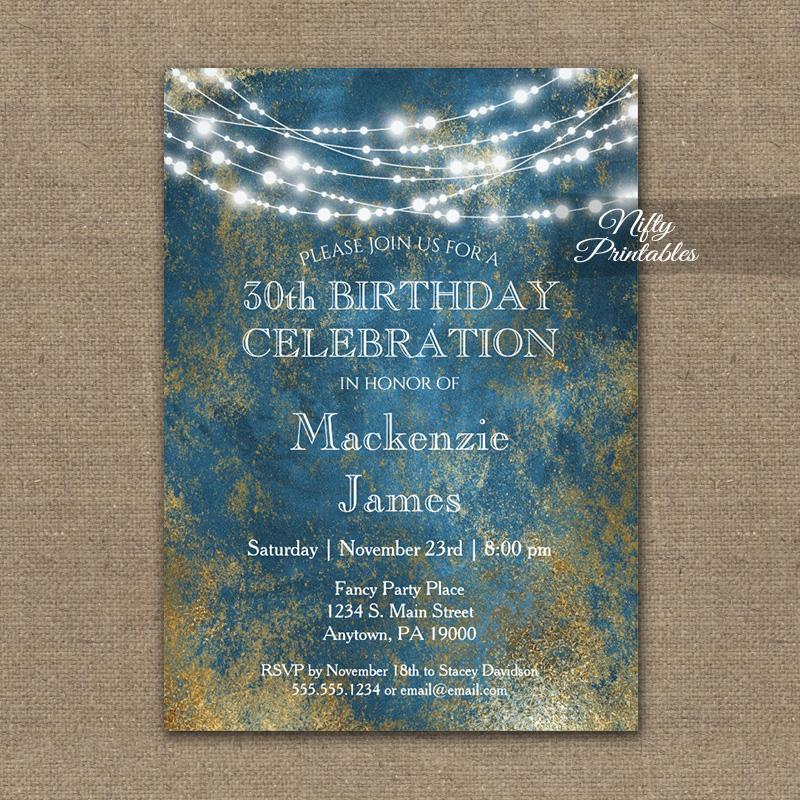 Birthday Invitation Blue Gold String Lights PRINTED