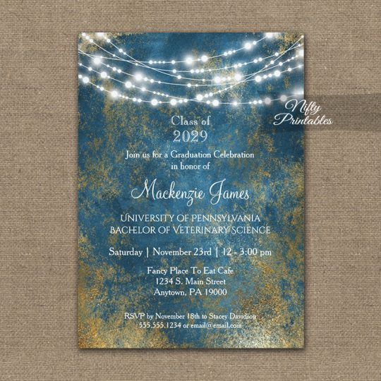 Graduation Invitations Blue Gold String Lights PRINTED
