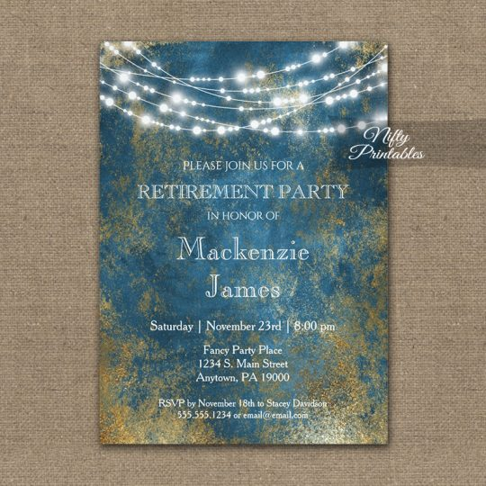 Retirement Invitations Blue Gold String Lights PRINTED