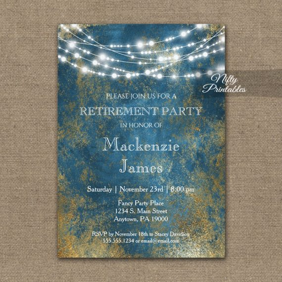 Retirement Invitation Blue Gold String Lights PRINTED