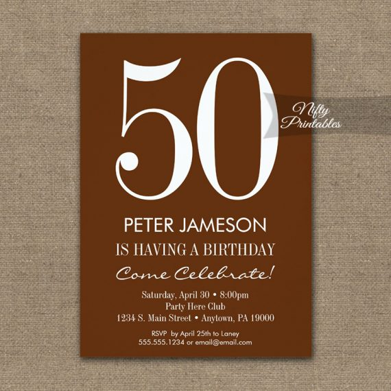 Birthday Invitation Brown & White Modern PRINTED