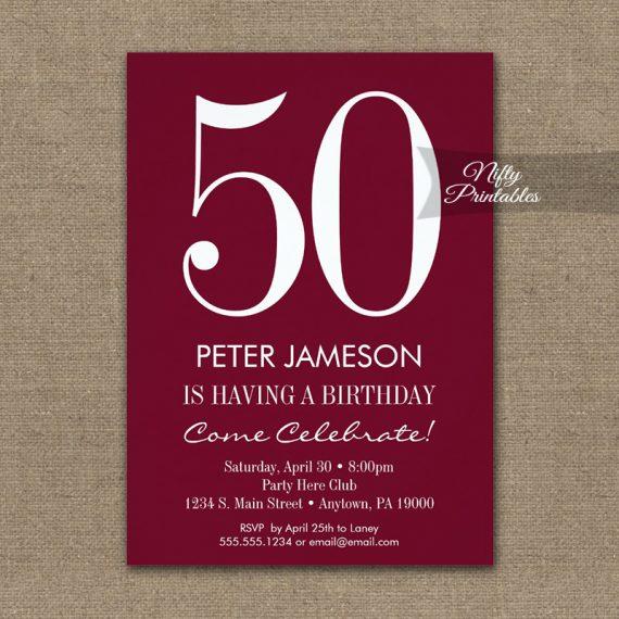 Birthday Invitation Burgundy Maroon Modern PRINTED
