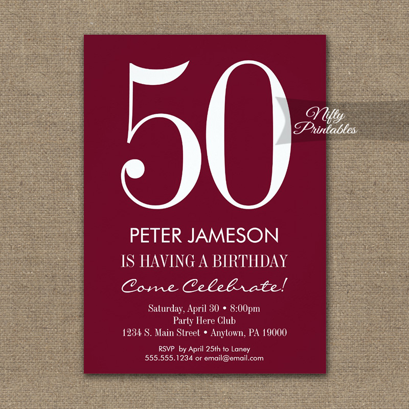 Birthday invitation burgundy maroon modern printed nifty printables birthday invitation burgundy maroon modern printed filmwisefo