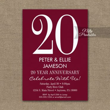 Anniversary Invitations Burgundy Maroon Modern PRINTED