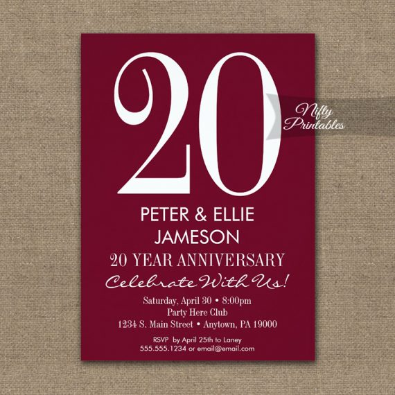 Anniversary Invitation Burgundy Maroon Modern PRINTED
