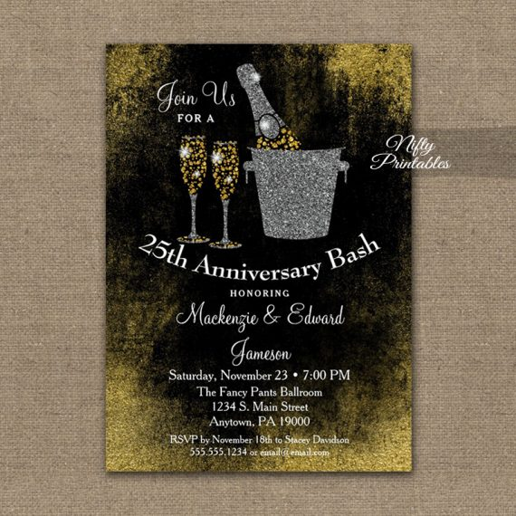 Anniversary Invitation Black Gold Champagne PRINTED