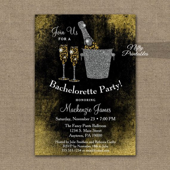 Bachelorette Party Invitation Black Gold Champagne PRINTED
