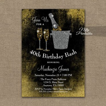 Birthday Invitation Black Gold Champagne PRINTED