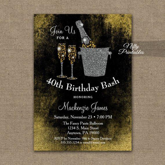 Birthday Invitation Black Gold Champagne PRINTED