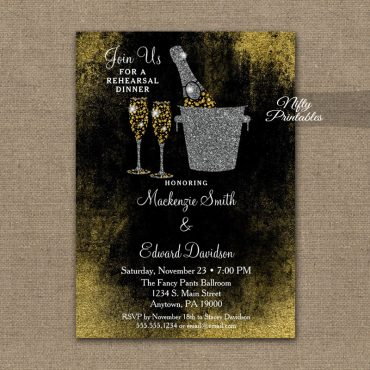 Rehearsal Dinner Invitation Black Gold Champagne PRINTED