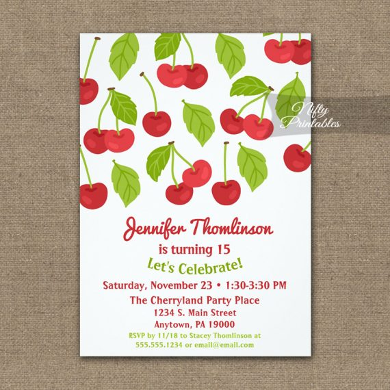 Birthday Invitation Red Cherries PRINTED