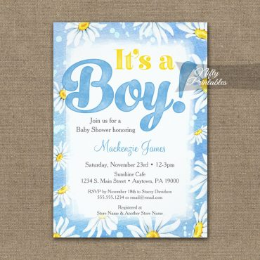 It's A Boy! Baby Shower Invitations Blue Daisies PRINTED