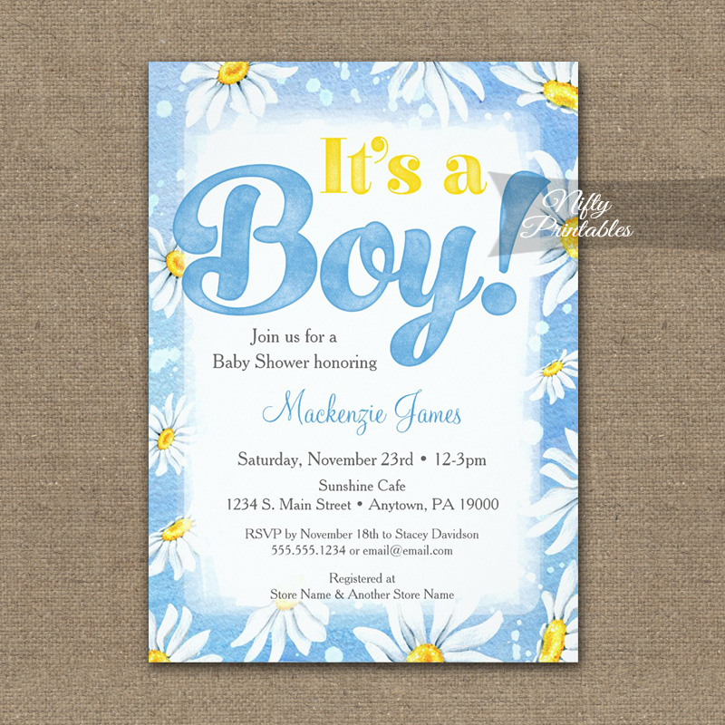 It's A Boy! Baby Shower Invitation Blue Daisies PRINTED