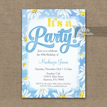 Birthday Invitation Blue Yellow Daisy Watercolor PRINTED