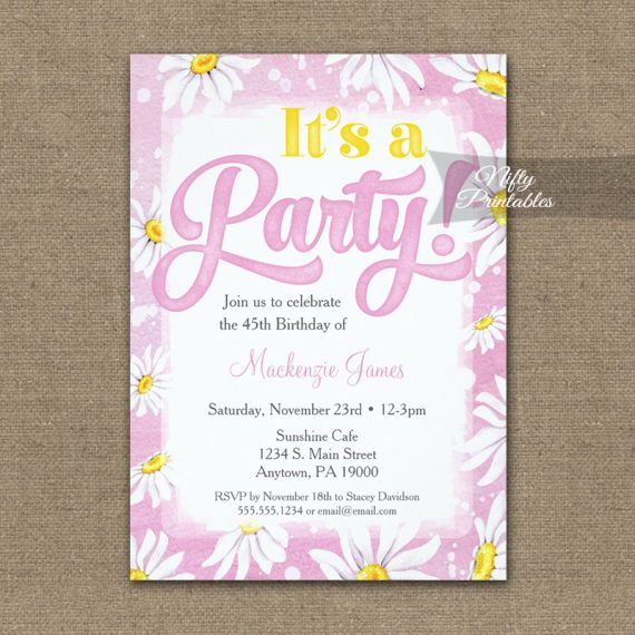 Birthday Invitation Pink Yellow Daisy Watercolor PRINTED