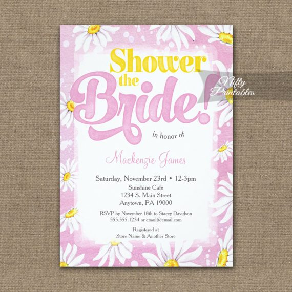 Bridal Shower Invitation Pink Yellow Daisy Watercolor PRINTED