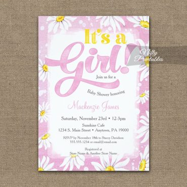 It's A Girl! Baby Shower Invitation Pink Daisies PRINTED