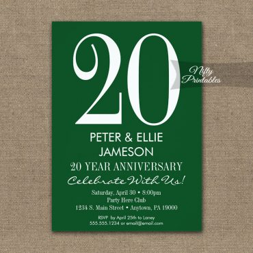 Anniversary Invitations Forest Green & White PRINTED
