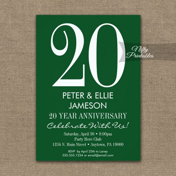 Anniversary Invitation Forest Green & White PRINTED