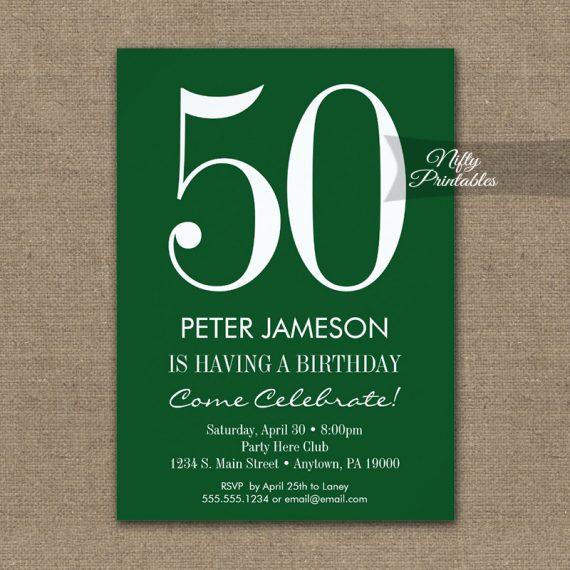Birthday Invitation Forest Green & White PRINTED