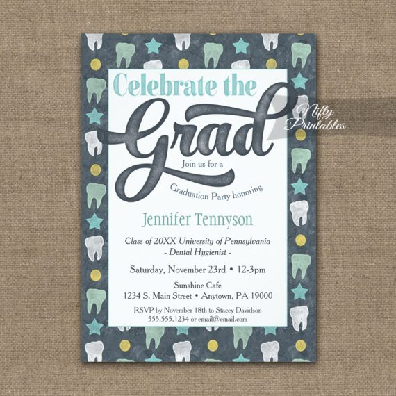 Dentist Graduation Invitation Dental Hygienist Gray PRINTED
