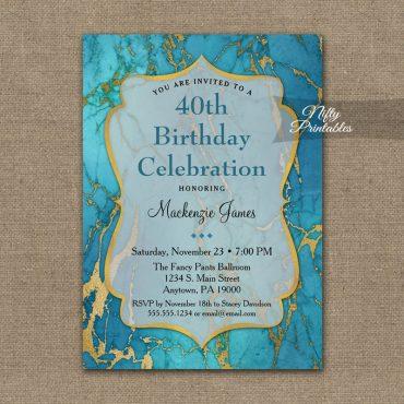 Birthday Invitation Blue Marble PRINTED