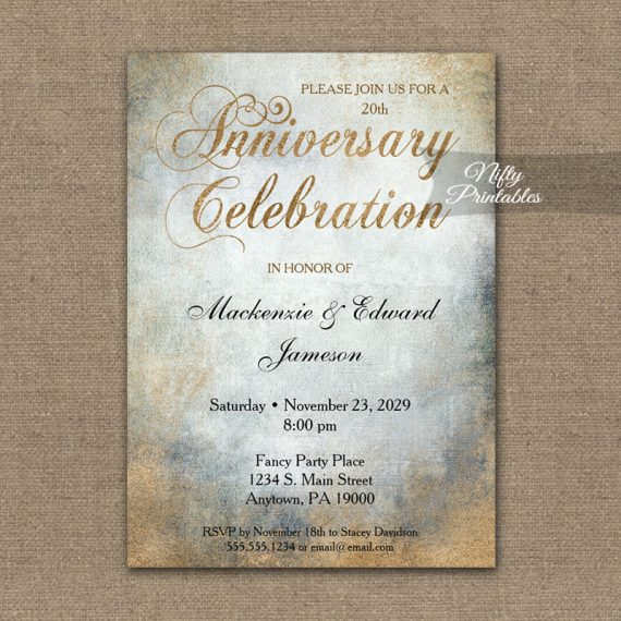 Anniversary Invitation Painted Copper PRINTED