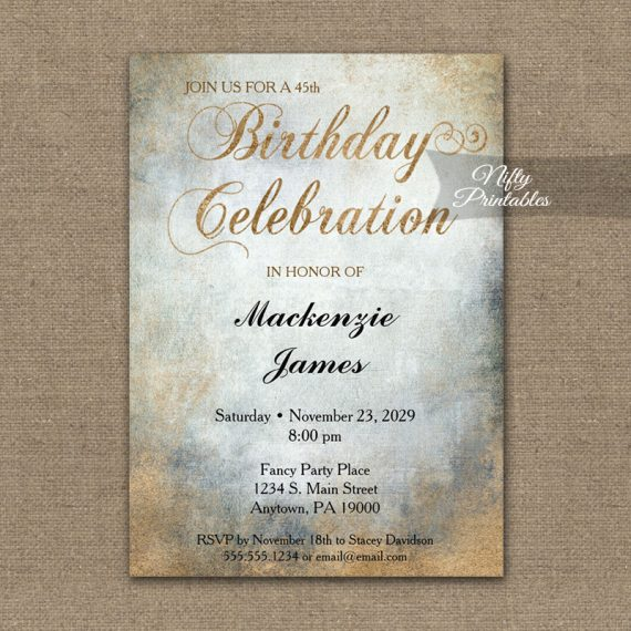 Birthday Invitation Painted Copper PRINTED