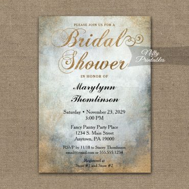 Bridal Shower Invitation Painted Copper PRINTED