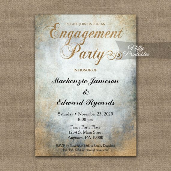 Engagement Party Invitation Painted Copper PRINTED
