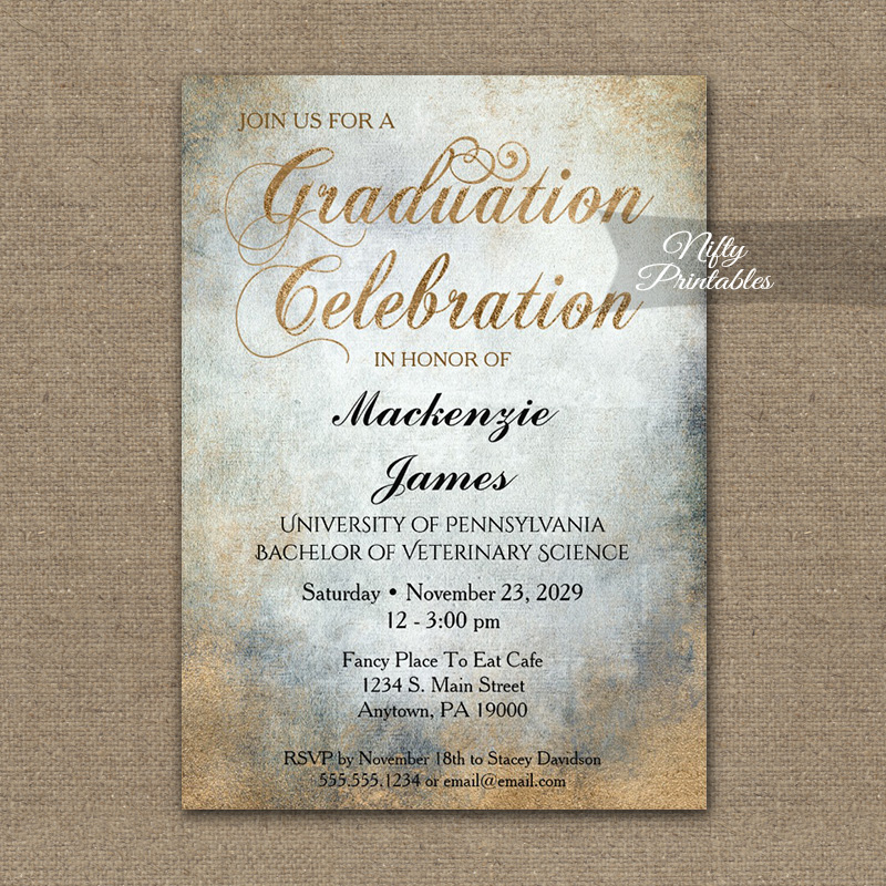Graduation Invitation Painted Copper PRINTED