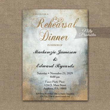 Rehearsal Dinner Invitation Painted Copper PRINTED